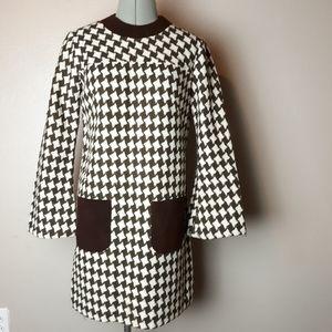VTG 60s houndstooth knee length dress